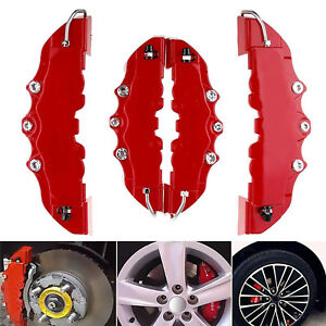 2pair 3d Style Red Car Disc Brake Caliper Covers Rear Front Universal 2m 2s Us