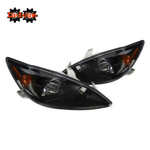 For 2002 2004 Toyota Camry Black Euro Headlights Replacement Lights