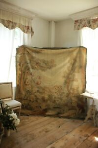 Aubusson Tapestry 19th Century 82x82 Inches Large Textile French Woven Wool