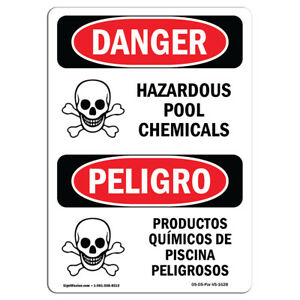 Osha Danger Sign Hazardous Pool Chemicals Heavy Duty Sign Or Label