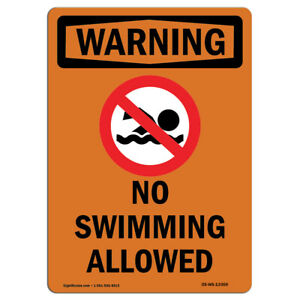 Osha Warning Sign No Swimming Allowed Bilingual made In The Usa