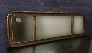 Vintage Art Deco Solid Wood Carved Wall Mantle Mirror