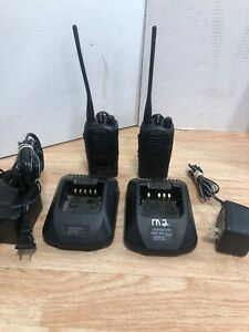 Pair Of Kenwood Tk 3160 Uhf Portable Two Way Radios Working With Chargers