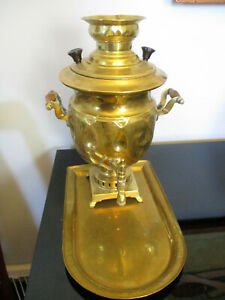 Antique Vintage Russian Persian Brass Samovar Tray Hot Water Tea Coffee Urn