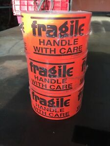 Uline S 14072 Florescent Fragile Handle With Care 3 Rolls Of 500 Stickers