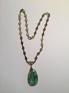 Early 20th Century Carved Jade Sterling Flower Gilded Necklace Chinese Export