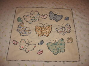 Antique Applique Pastel Butterfly Pillow Sham Embroidered In Black 18 X 17