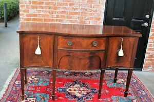 English Edwardian Antique Flamed Mahogany Sideboard 2 Drawer 2 Door Cabinet