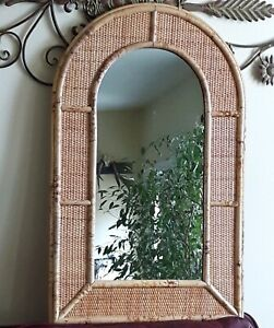 Vintage Wicker Rattan Mid Century Wall Mantle Mirror Mcm Arch Boho Large