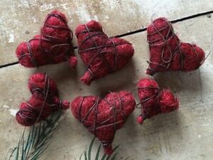Set 6 Primitive Valentine Heart Ornaments Bowl Fillers Grungy Rusty Wire Sisal