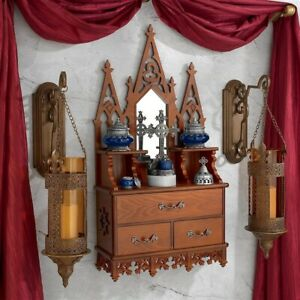 European Style Castle Wood Curio Cabinet W Mirror Goth Home Gallery Decor