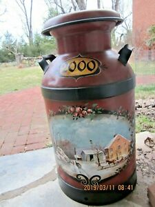 Americana Vintage 10 Gallon Buhl Hand Painted Toleware Milk Can