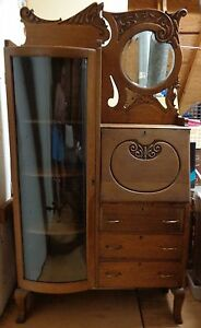 Vtg Antique Oak Secretary Bookcase Curved Glass Display Case Beveled Mirror Al