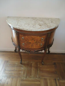 19th Century Antique French Style Louis Xv Marquetry Marble Top Commode 2 Drawer