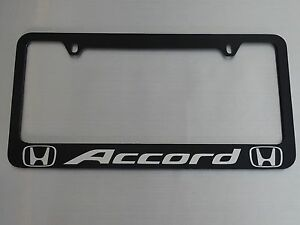 Honda Accord License Plate Frame Black Plastic Brushed Aluminum Text