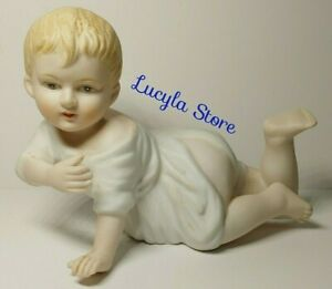 Lovely Vintage Bisque Porcelain Piano Baby Figurine Crawling 23 115 Numbered