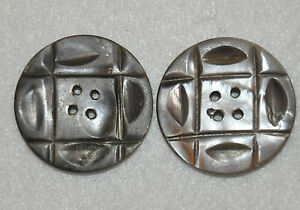 2 Antique Vtg Mop Buttons Gray Carved Mother Pearl Shell Old 1 3 16