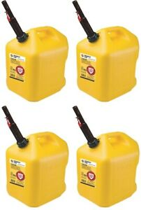 4 Midwest 8610 5 Gallon Yellow Poly Diesel Fuel Cans W Flameshield Spout