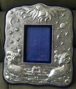 Vintage Sterling Silver Zodiac Sign Aries Picture Frame