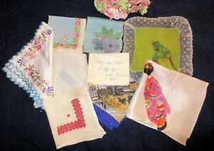 Antique Lot 8 Silk Rayon Hankies Lace Flapper Irish Canton Assisi Embroidery