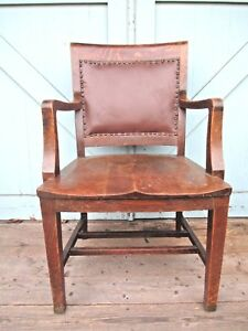 Oak Arm Chair Banker Lawyer Attorney Office Leather Back Delivery Available