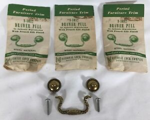 3 Nos Vintage Drop Bail Drawer Pull French Gilt Antique Brass Plated Steel
