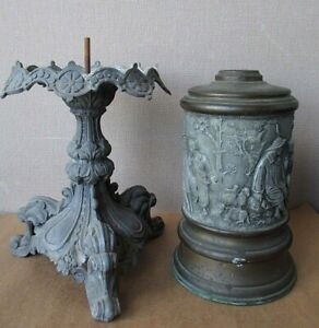 Rare Lamp Antique Iden Dietz Kerosene Figural Oil 2 Peice Lighting Victorian