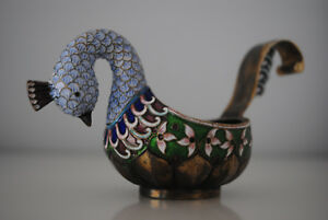 Russian Silver 84 With Enamel Of The Charka Goose