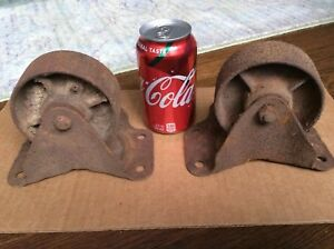 Pair Of Vintage Cast Iron Factory Industrial Caster Cart Wheels