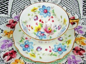 Aynsley Blue And Yellow Floral Tea Cup And Saucer Teacup