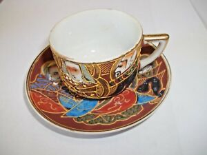 Antique Tea Cup And Saucer Japanese Satsuma Moriage Style Gilded Porcelain