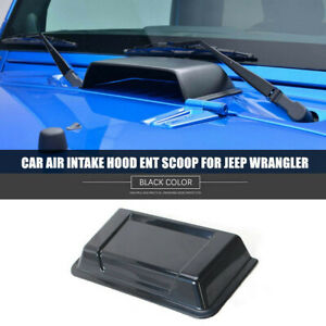 1x Black Abs Car Engine Inlet Cover Air Intake Hood Vent Scoop For Jeep Wrangler
