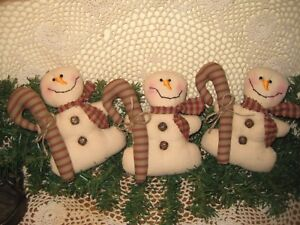 3 Handmade Fabric Primitive Christmas Snowmen With Canes Ornaments Home Decor