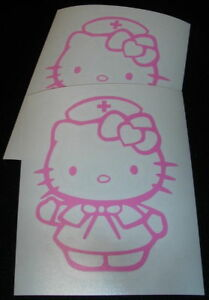 2 Hello Kitty Nurse 4 Pink Decals Stickers For Car Computer Windows