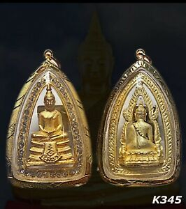 Phra Lp Sothon Thai Magic Amulet Buddha Gold Case Gem Pendant Necklace Rare K345
