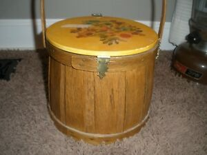 Vtg Primitive Farmhouse Decor Wood Cookie Sugar Pail Bucket Sewing Box