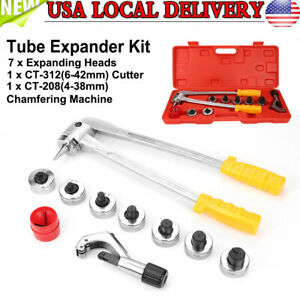 7 Head Manual Pipe Flaring Expander Tool Hydraulic Copper Heads Tube Swaging Kit