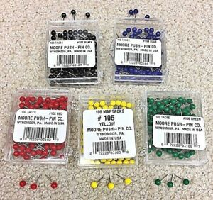 Bulk 1 000 Moore Map Push Pins 5 Colors To Choose From Made In Usa