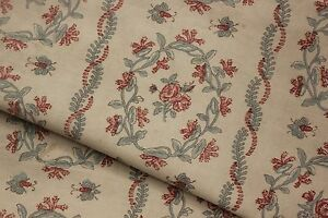 Antique French Curtain Faded Floral Bee Fabric For Bedcover Tablecloth 64x90in
