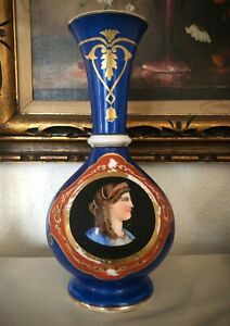 Antique Old Paris Vase Queen Louise Portrait Blue