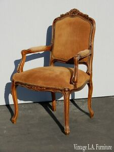 Vintage French Provincial Dark Gold Suede Accent Chair Made In Italy
