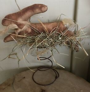 Handmade Primitive Easter Spring Leaping Bunny On Rusty Spring