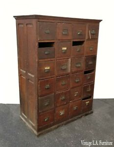 Antique 24 Drawer Apothecary Oak File Cabinet French Country Farm Industrial