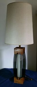 Mid Century Modern Smoked Bent Lucite Acrylic Panels Wooden Table Lamp Retro