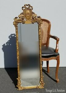 Antique French Provincial Rococo Gold Ornate Slim Wall Mantle Mirror