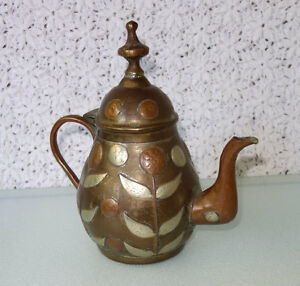 Antique Hammered Etched Copper Silver Brass Tea Coffee Pot Tin Lined Mexico