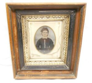 Antique Hand Crafted Picture Frame With Tin Plate Picture