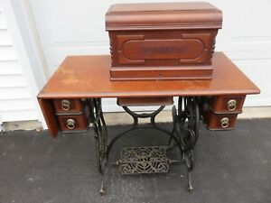 Antique Domestic Treadle Sewing Machine Cast Iron Base Cabinet Coffin Top Wow