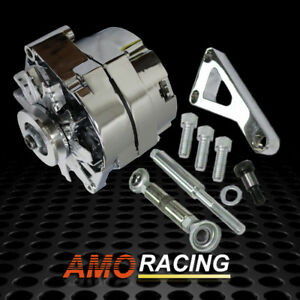 Chrome 120 Amp 1 Wire 3 Wire Alternator Lwp Aluminum Bracket Kit Fit Sbc Chevy