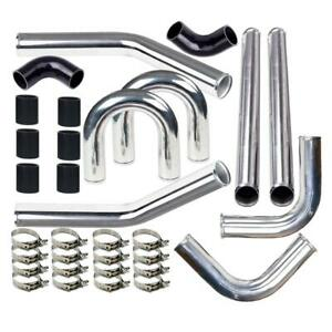 Universal 2 5 610mm Aluminum Turbo Intercooler Piping Kit Hose Bolt Clamps